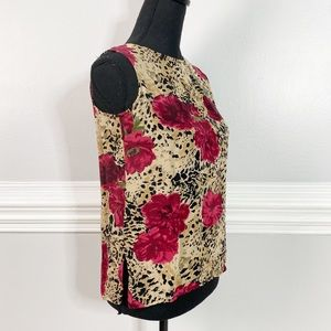 Pure Silk Floral Animal print Boxy Square Blouse